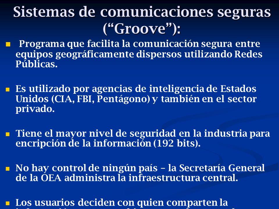Sistemas de comunicaciones seguras (Groove): Programa que facilita la comunicación segura entre equipos geográficamente dispersos utilizando Redes Públicas.