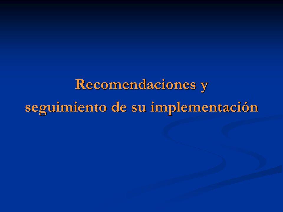 Recomendaciones y seguimiento de su implementación