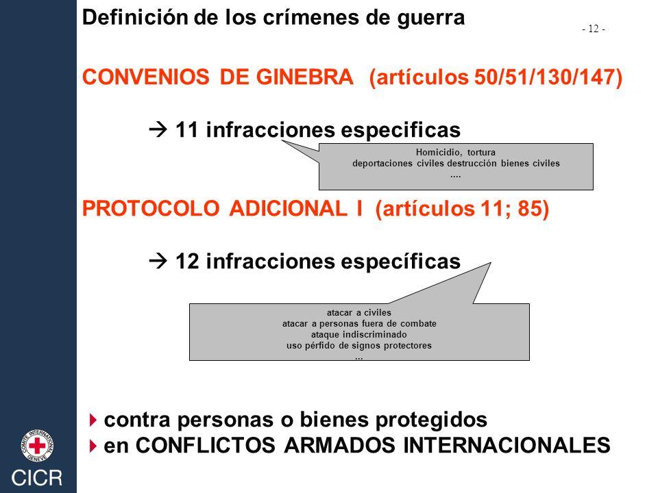 CONVENIOS DE GINEBRA (artículos 50/51/130/147) 11 infracciones especificas PROTOCOLO ADICIONAL I (artículos 11; 85) 12 infracciones específicas contra