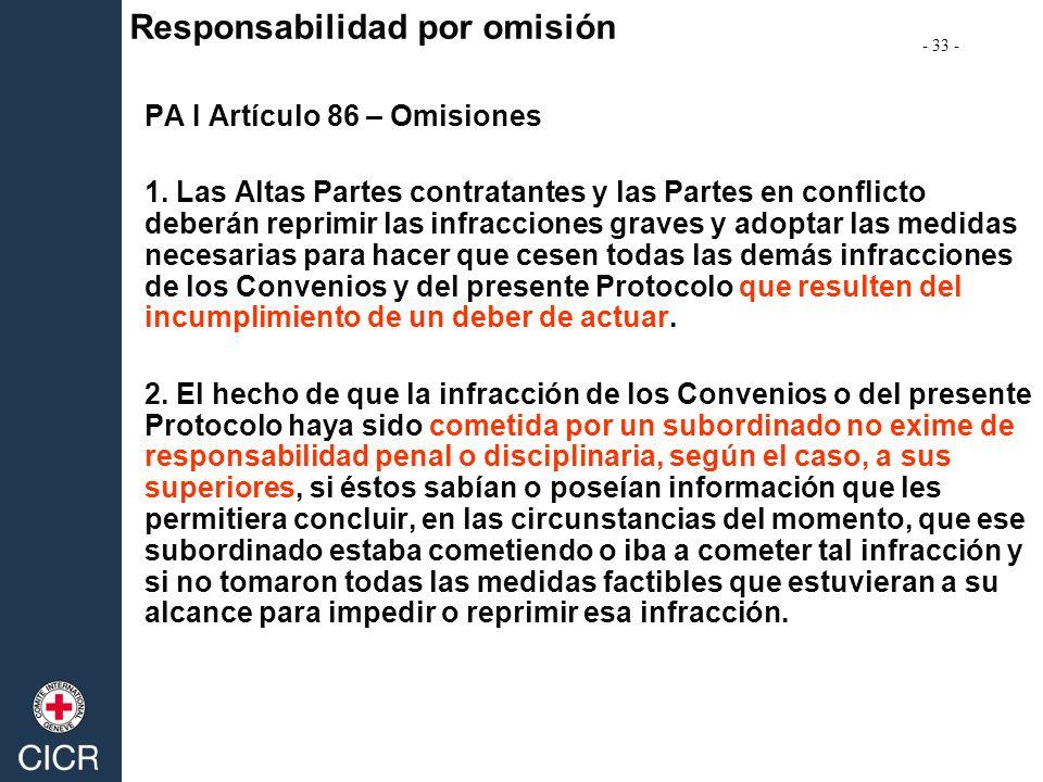 PA I Artículo 86 – Omisiones 1. Las Altas Partes contratantes y las Partes en conflicto deberán reprimir las infracciones graves y adoptar las medidas