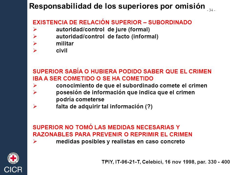 Responsabilidad de los superiores por omisión EXISTENCIA DE RELACIÓN SUPERIOR – SUBORDINADO autoridad/control de jure (formal) autoridad/control de fa