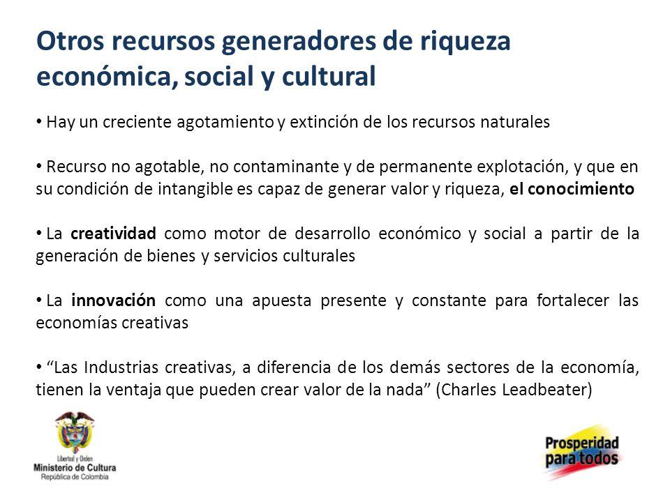 Otros recursos generadores de riqueza económica, social y cultural Hay un creciente agotamiento y extinción de los recursos naturales Recurso no agota