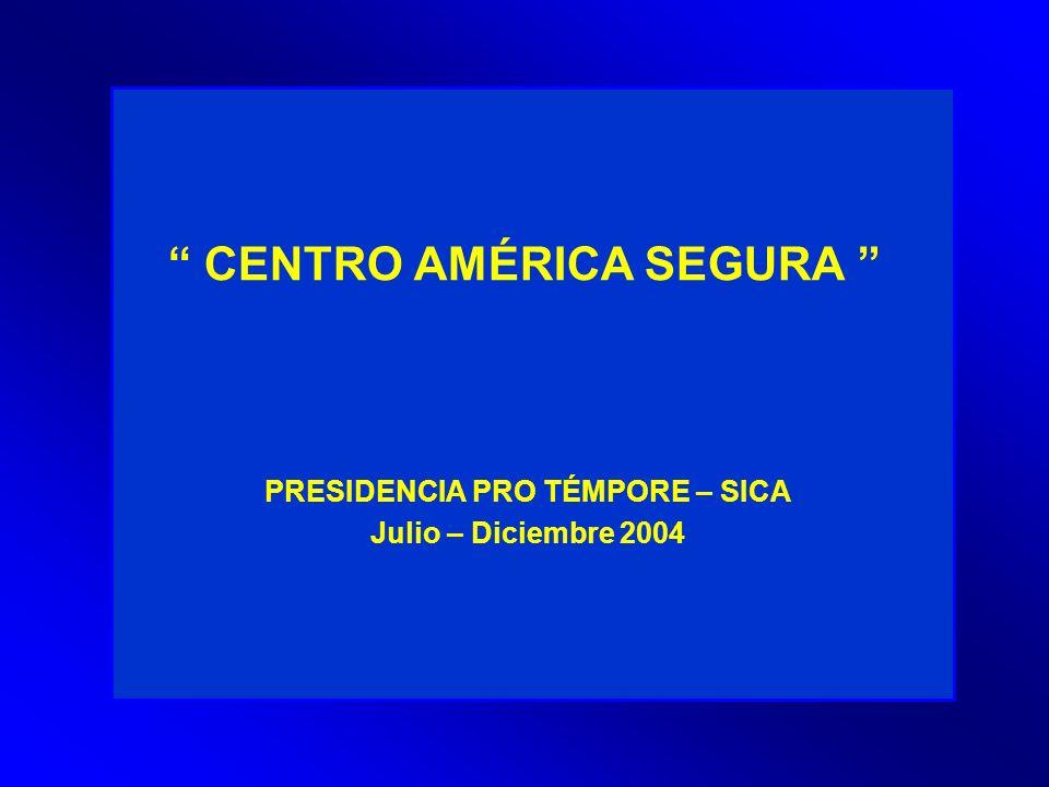 CENTRO AMÉRICA SEGURA PRESIDENCIA PRO TÉMPORE – SICA Julio – Diciembre 2004