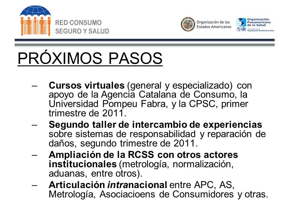 PRÓXIMOS PASOS –Cursos virtuales (general y especializado) con apoyo de la Agencia Catalana de Consumo, la Universidad Pompeu Fabra, y la CPSC, primer trimestre de 2011.