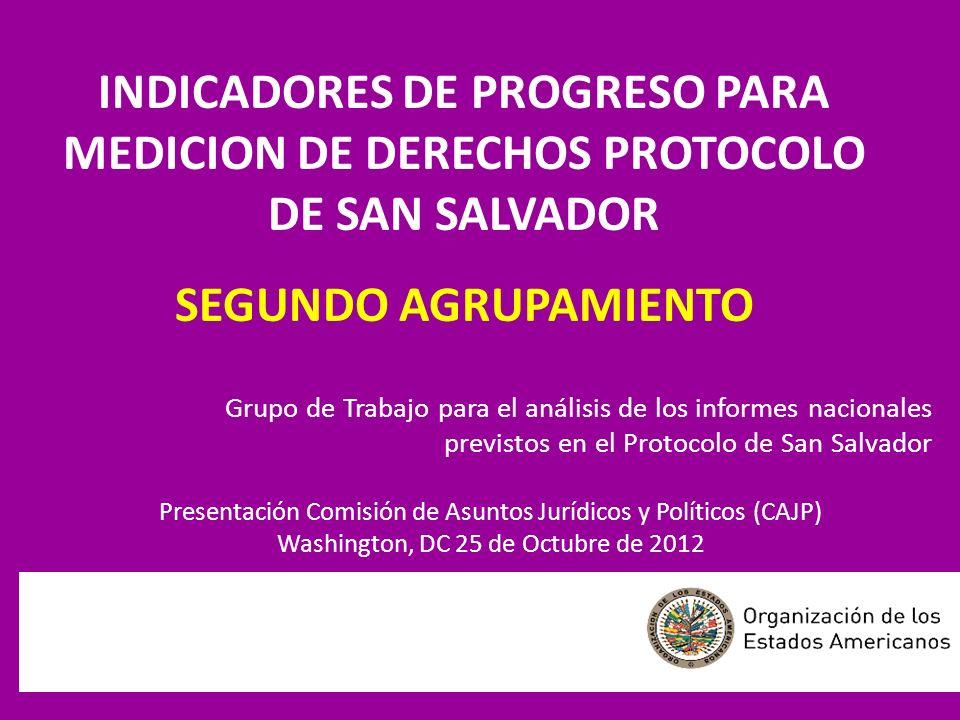 INDICADORES DE PROGRESO PARA MEDICION DE DERECHOS PROTOCOLO DE SAN SALVADOR SEGUNDO AGRUPAMIENTO Grupo de Trabajo para el análisis de los informes nac