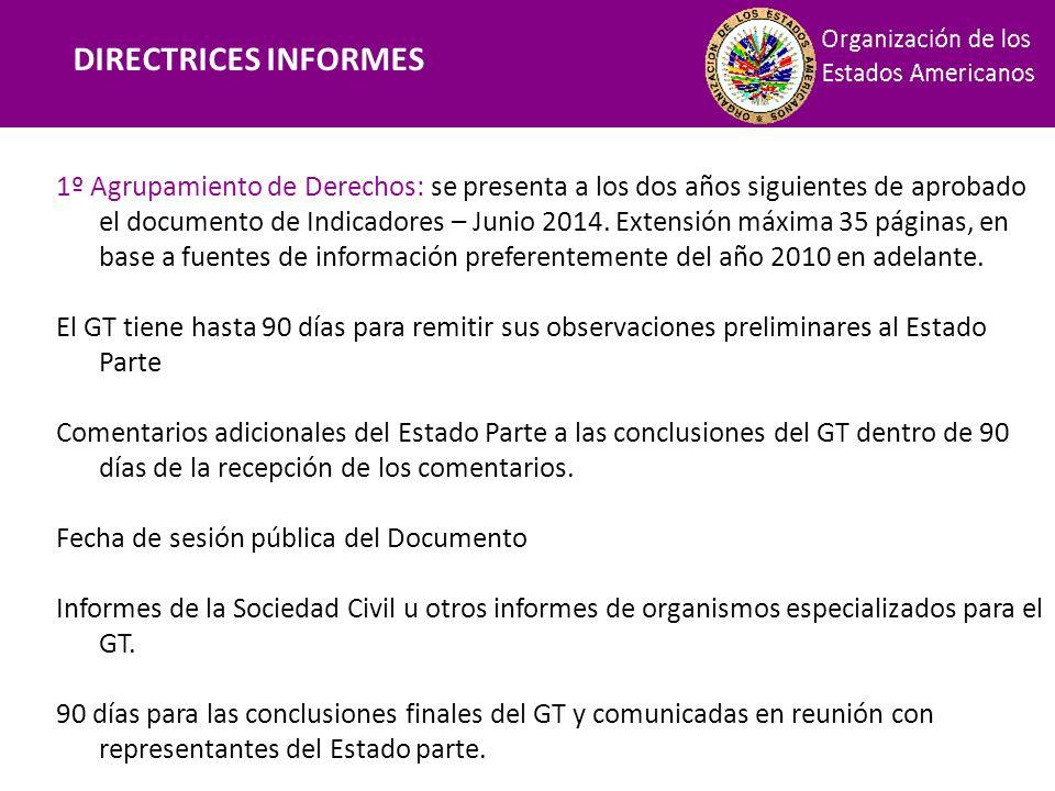 Financiamiento DIRECTRICES INFORMES 1º Agrupamiento de Derechos: se presenta a los dos años siguientes de aprobado el documento de Indicadores – Junio