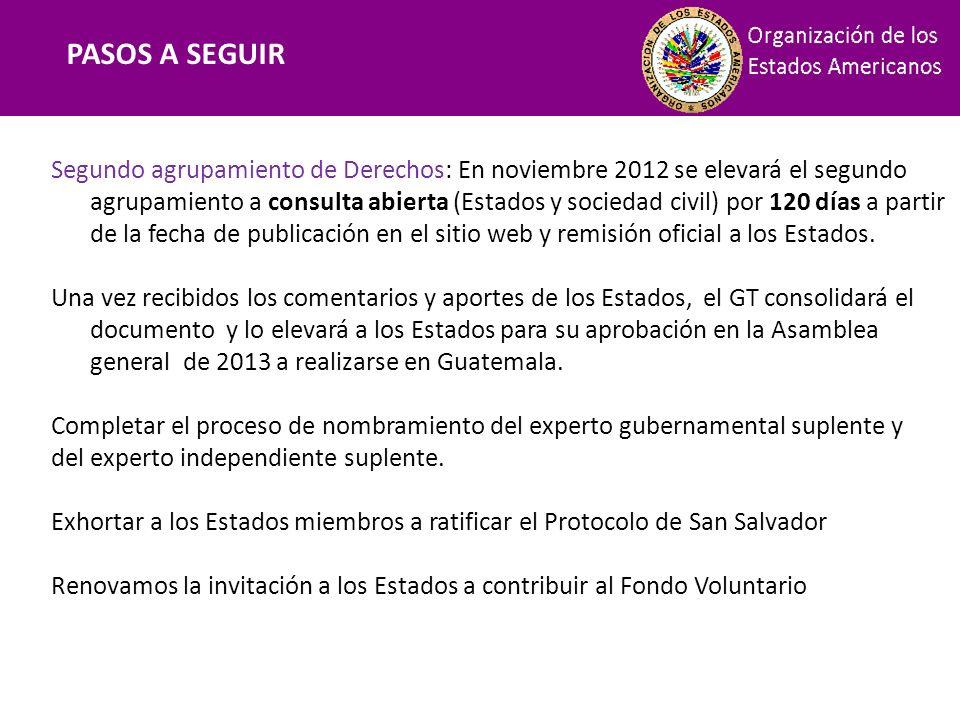 Financiamiento PASOS A SEGUIR Segundo agrupamiento de Derechos: En noviembre 2012 se elevará el segundo agrupamiento a consulta abierta (Estados y soc