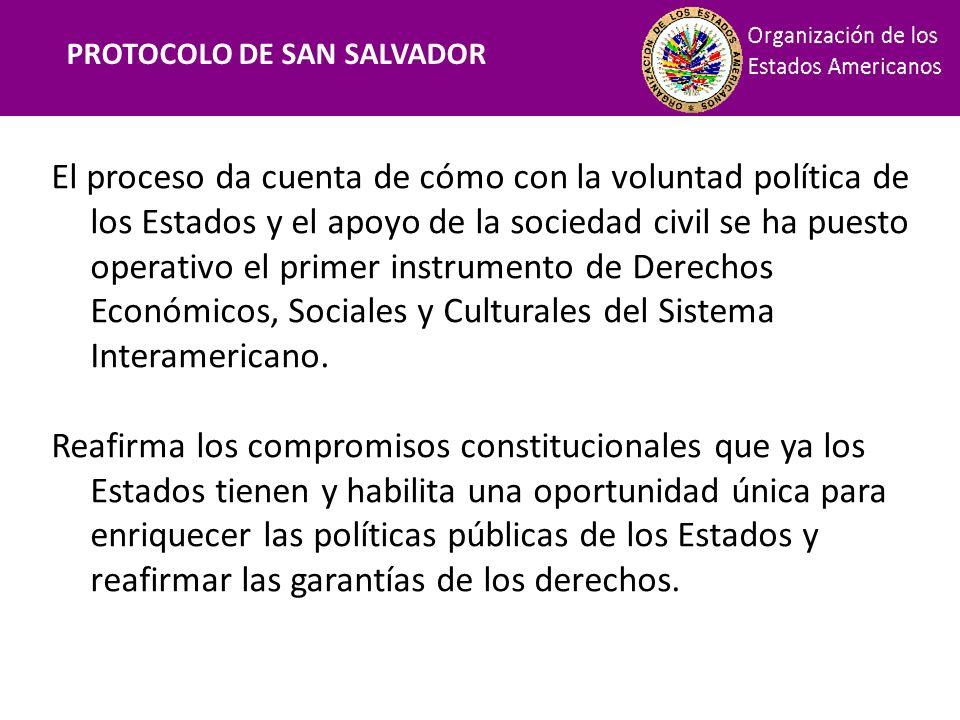 Financiamiento PROTOCOLO DE SAN SALVADOR El proceso da cuenta de cómo con la voluntad política de los Estados y el apoyo de la sociedad civil se ha pu