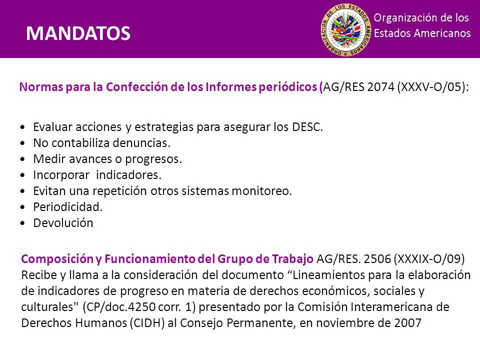 Mandatos Normas para la Confección de los Informes periódicos (AG/RES 2074 (XXXV-O/05): Evaluar acciones y estrategias para asegurar los DESC. No cont