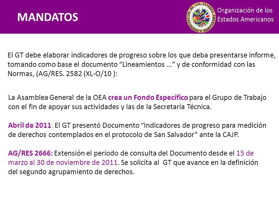 Mandatos El GT debe elaborar indicadores de progreso sobre los que deba presentarse informe, tomando como base el documento Lineamientos … y de confor