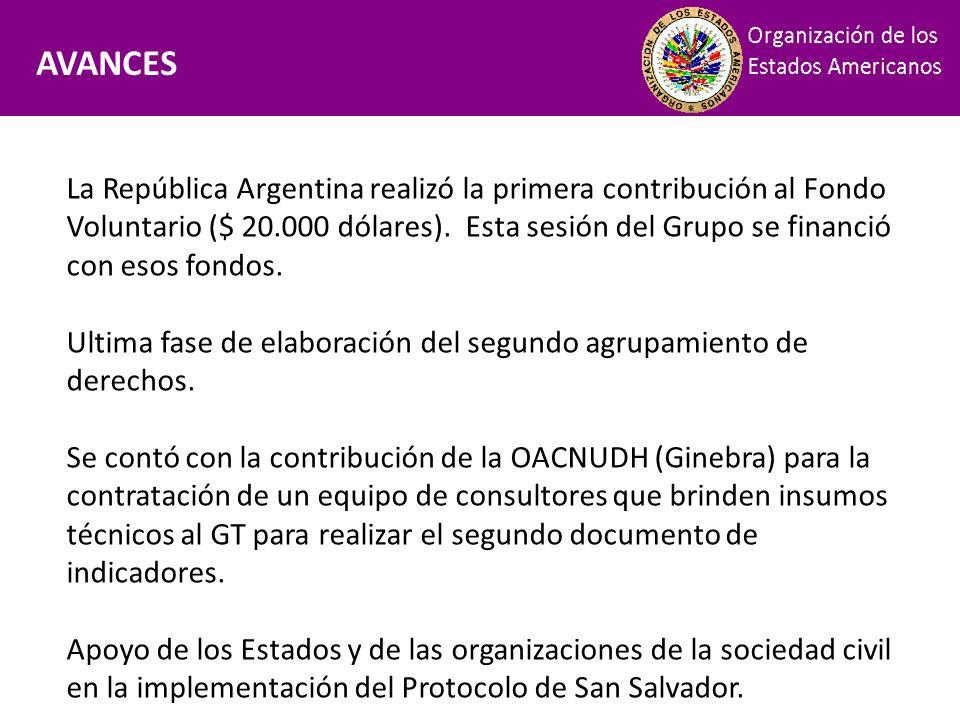 Financiamiento AVANCES La República Argentina realizó la primera contribución al Fondo Voluntario ($ 20.000 dólares). Esta sesión del Grupo se financi