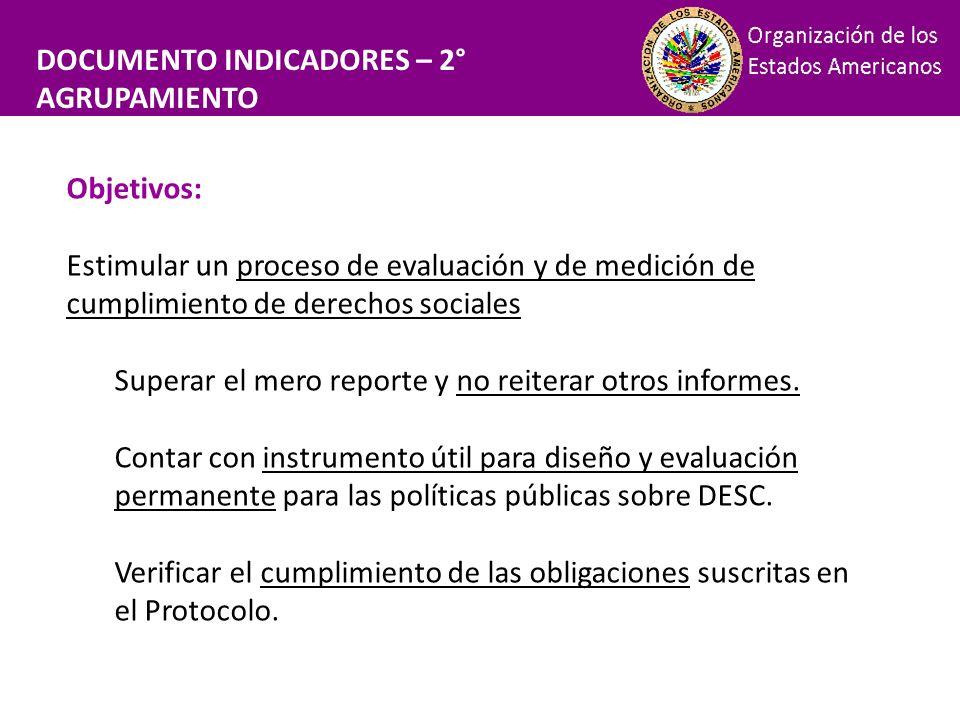 Financiamiento DOCUMENTO INDICADORES – 2° AGRUPAMIENTO Objetivos: Estimular un proceso de evaluación y de medición de cumplimiento de derechos sociale