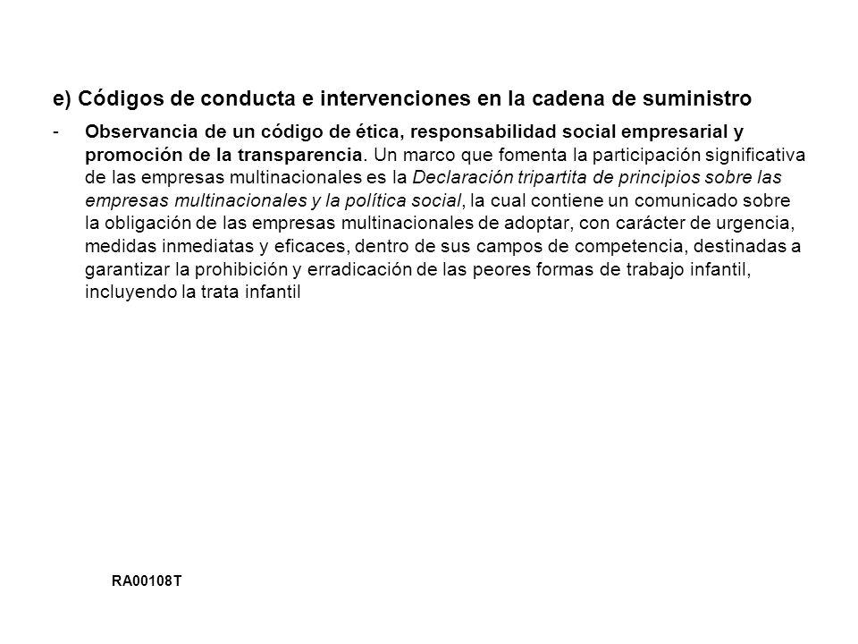 e) Códigos de conducta e intervenciones en la cadena de suministro -Observancia de un código de ética, responsabilidad social empresarial y promoción