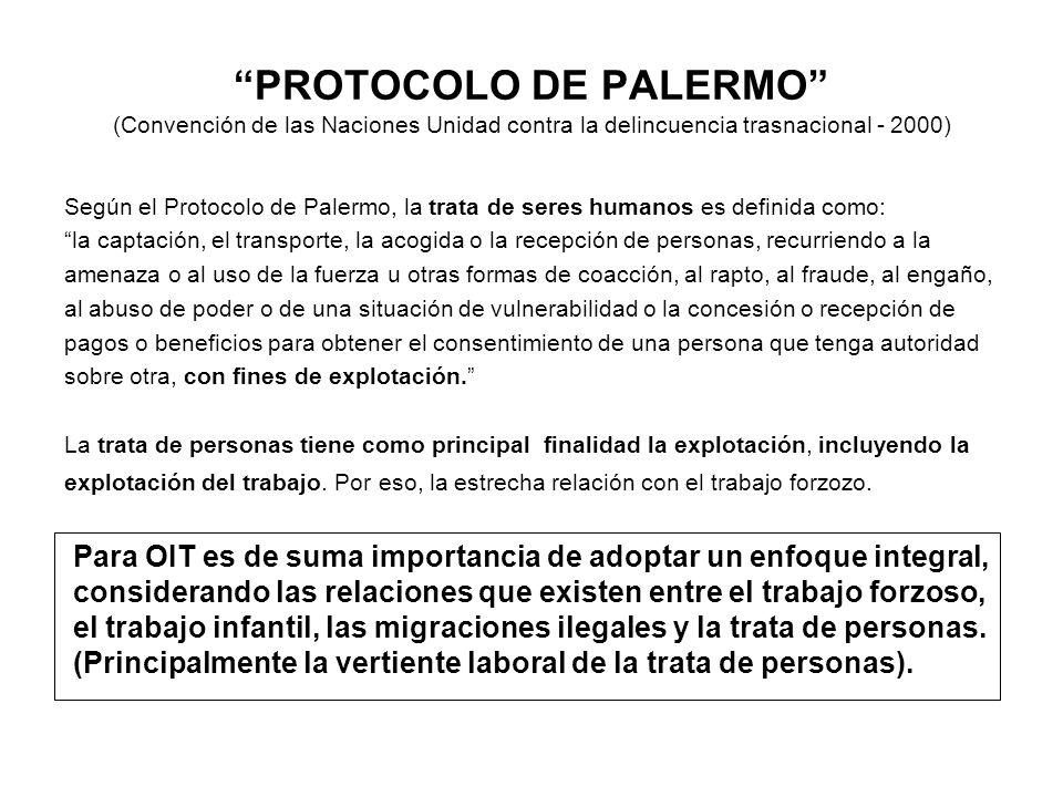 PROTOCOLO DE PALERMO (Convención de las Naciones Unidad contra la delincuencia trasnacional - 2000) Según el Protocolo de Palermo, la trata de seres h