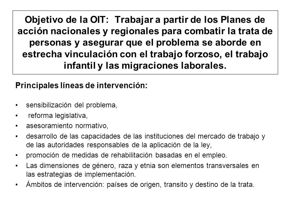 Objetivo de la OIT: Trabajar a partir de los Planes de acción nacionales y regionales para combatir la trata de personas y asegurar que el problema se