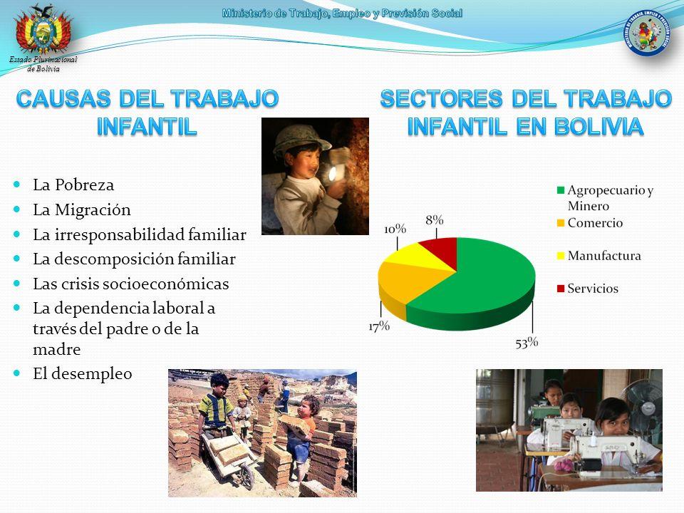 Estado Plurinacional de Bolivia La Pobreza La Migración La irresponsabilidad familiar La descomposición familiar Las crisis socioeconómicas La depende