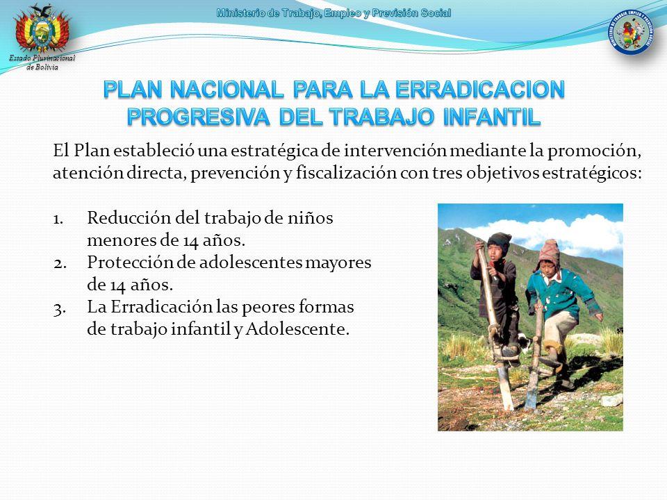 Estado Plurinacional de Bolivia El Plan estableció una estratégica de intervención mediante la promoción, atención directa, prevención y fiscalización