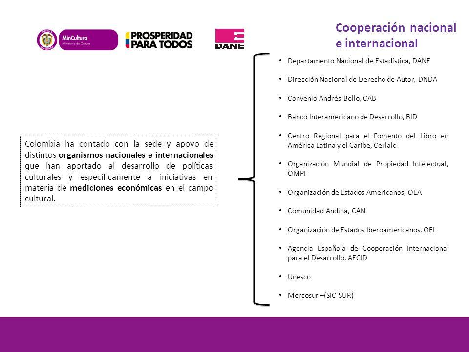 Colombia ha contado con la sede y apoyo de distintos organismos nacionales e internacionales que han aportado al desarrollo de políticas culturales y