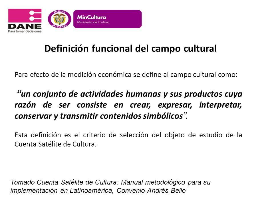 Definición funcional del campo cultural Para efecto de la medición económica se define al campo cultural como: un conjunto de actividades humanas y su