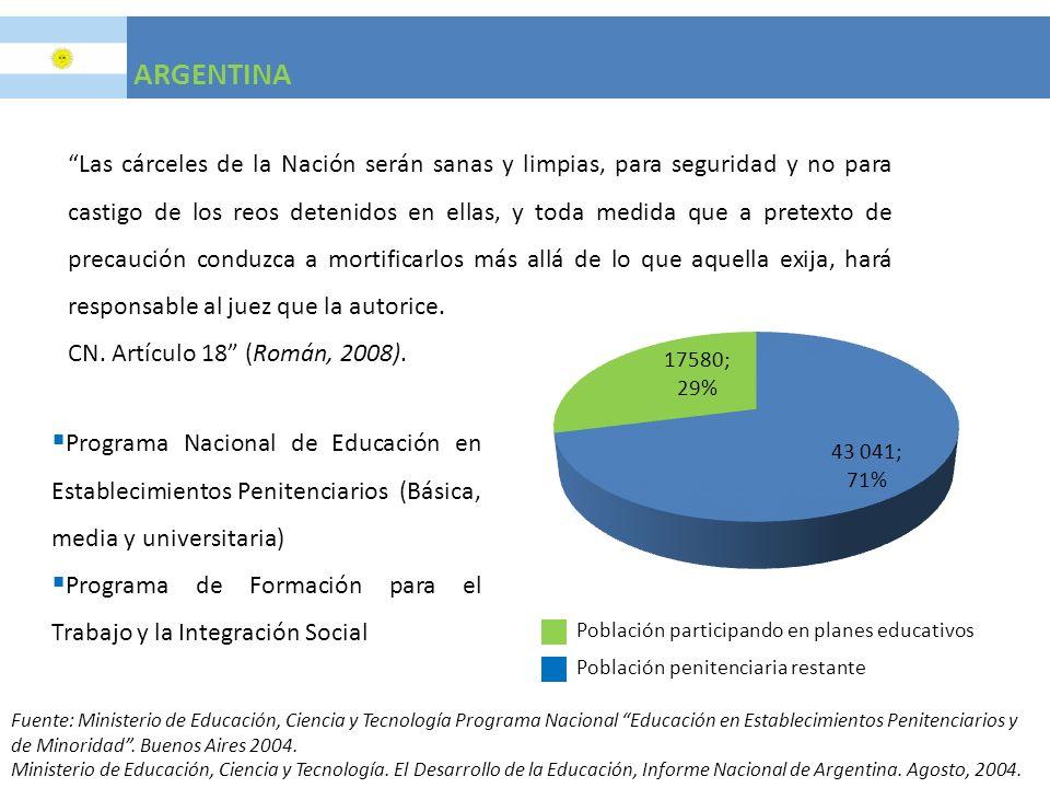 ARGENTINA Programa Nacional de Educación en Establecimientos Penitenciarios (Básica, media y universitaria) Programa de Formación para el Trabajo y la