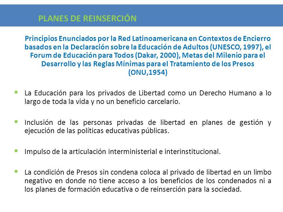 Principios Enunciados por la Red Latinoamericana en Contextos de Encierro basados en la Declaración sobre la Educación de Adultos (UNESCO, 1997), el F