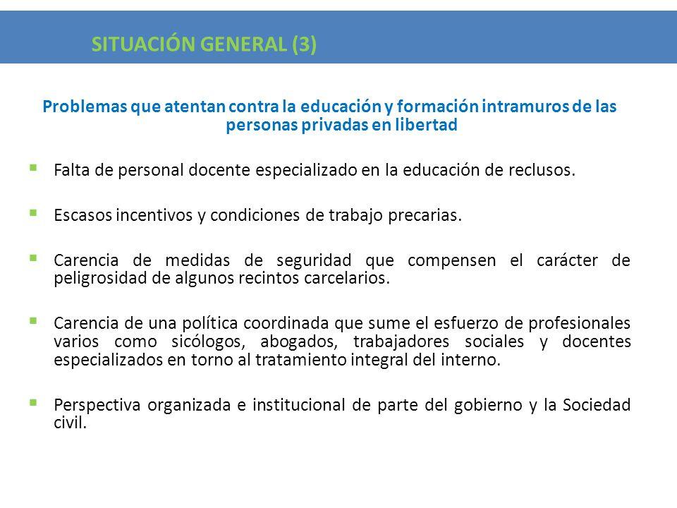 Situacion General (3) Problemas que atentan contra la educación y formación intramuros de las personas privadas en libertad Falta de personal docente