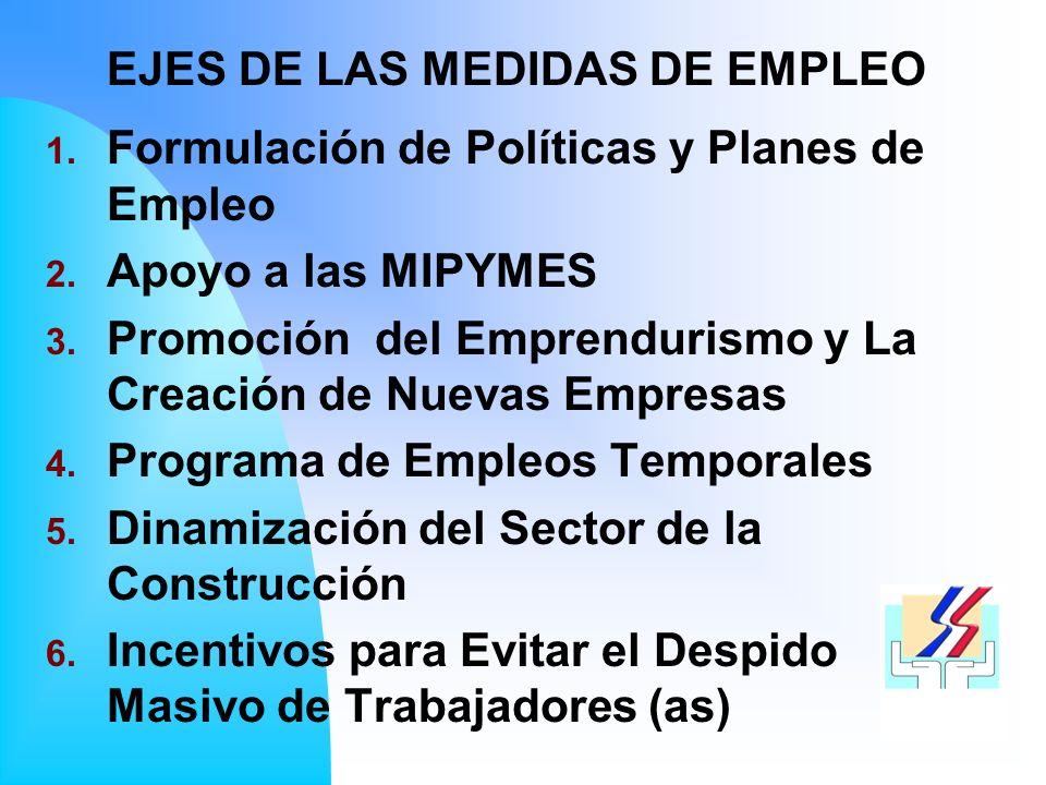 1.Formulación de Políticas y Planes de Empleo 2. Apoyo a las MIPYMES 3.
