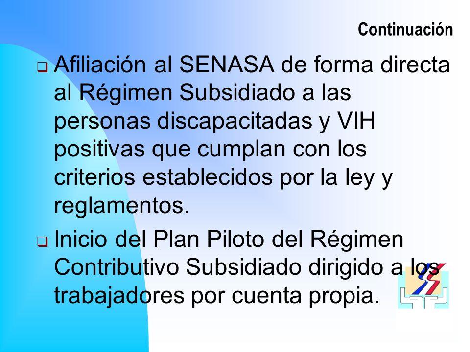 Continuación Afiliación al SENASA de forma directa al Régimen Subsidiado a las personas discapacitadas y VIH positivas que cumplan con los criterios establecidos por la ley y reglamentos.