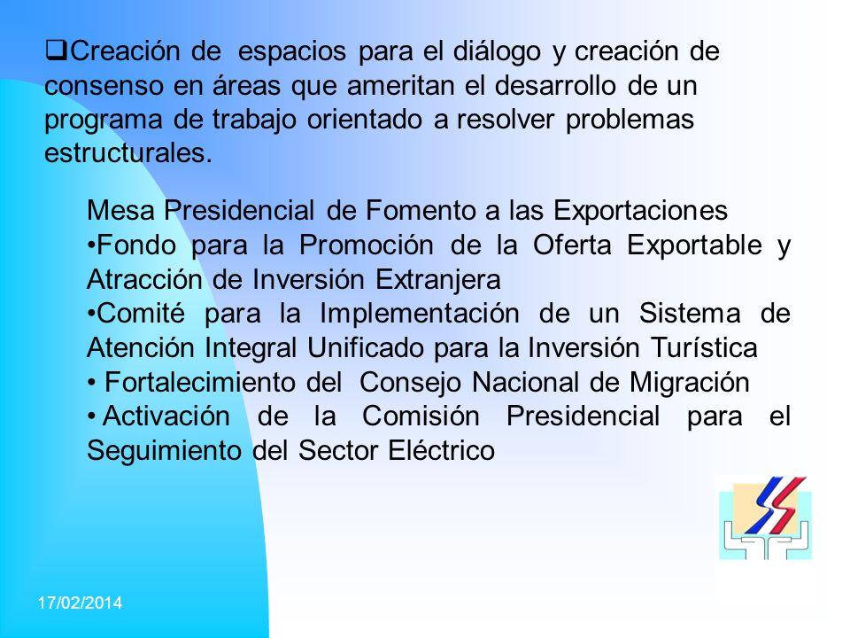17/02/201431 Creación de espacios para el diálogo y creación de consenso en áreas que ameritan el desarrollo de un programa de trabajo orientado a resolver problemas estructurales.
