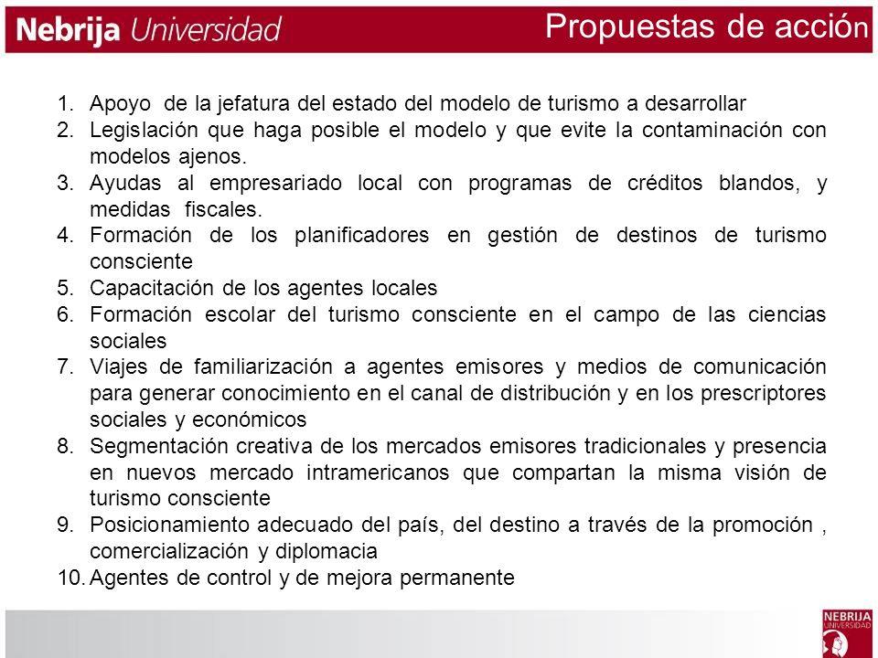 1.Apoyo de la jefatura del estado del modelo de turismo a desarrollar 2.Legislación que haga posible el modelo y que evite la contaminación con modelo