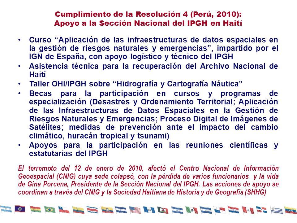 Cumplimiento de la Resolución 4 (Perú, 2010): Apoyo a la Sección Nacional del IPGH en Haití Curso Aplicación de las infraestructuras de datos espaciales en la gestión de riesgos naturales y emergencias, impartido por el IGN de España, con apoyo logístico y técnico del IPGH Asistencia técnica para la recuperación del Archivo Nacional de Haití Taller OHI/IPGH sobre Hidrografía y Cartografía Náutica Becas para la participación en cursos y programas de especialización (Desastres y Ordenamiento Territorial; Aplicación de las Infraestructuras de Datos Espaciales en la Gestión de Riesgos Naturales y Emergencias; Proceso Digital de Imágenes de Satélites; medidas de prevención ante el impacto del cambio climático, huracán tropical y tsunami) Apoyos para la participación en las reuniones científicas y estatutarias del IPGH El terremoto del 12 de enero de 2010, afectó el Centro Nacional de Información Geoespacial (CNIG) cuya sede colapsó, con la pérdida de varios funcionarios y la vida de Gina Porcena, Presidente de la Sección Nacional del IPGH.