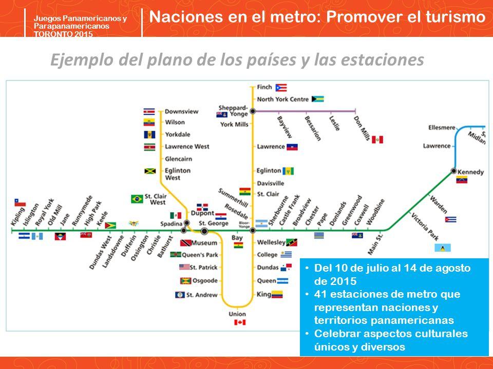Pan/Parapan Am Toronto 2015 Juegos Panamericanos y Parapanamericanos TORONTO 2015 Naciones en el metro: Promover el turismo Ejemplo del plano de los p