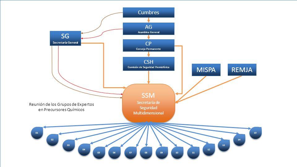 SSM Secretaría de Seguridad Multidimensional 01 02 03 04 05 06 07 08 09 10 11 12 13 14 15 CSH Comisión de Seguridad Hemisférica CP Consejo Permanente