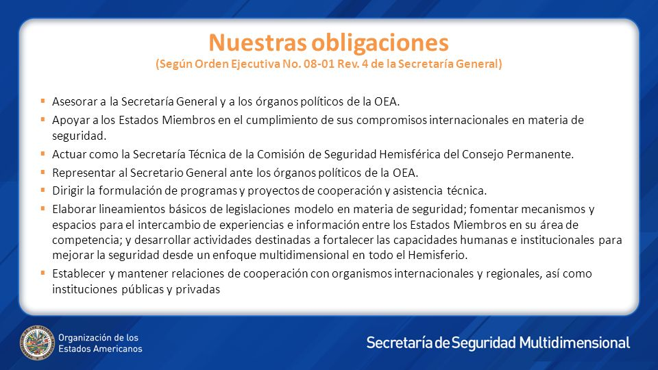 Nuestras obligaciones (Según Orden Ejecutiva No. 08-01 Rev. 4 de la Secretaría General) Asesorar a la Secretaría General y a los órganos políticos de