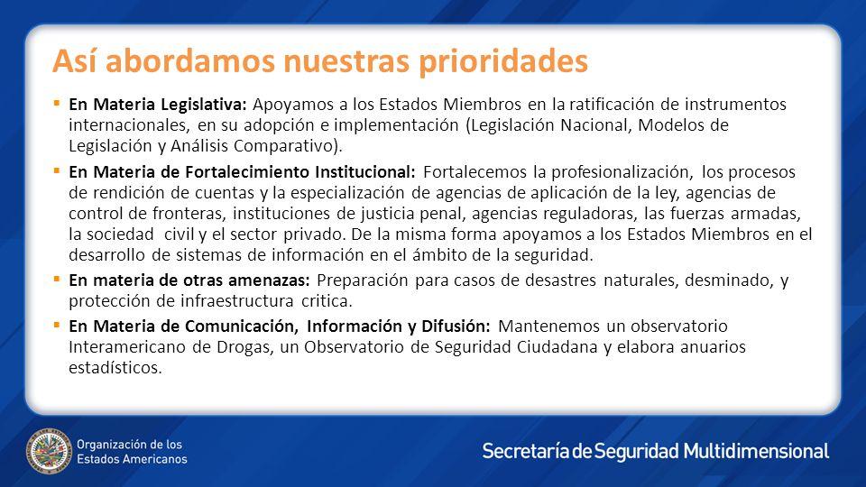 En Materia Legislativa: Apoyamos a los Estados Miembros en la ratificación de instrumentos internacionales, en su adopción e implementación (Legislación Nacional, Modelos de Legislación y Análisis Comparativo).