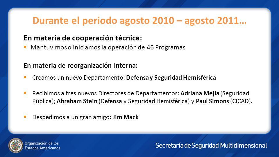 En materia de cooperación técnica: Mantuvimos o iniciamos la operación de 46 Programas En materia de reorganización interna: Creamos un nuevo Departam