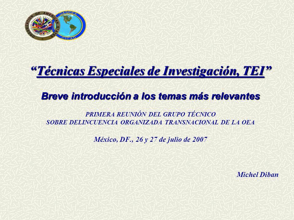 Técnicas Especiales de Investigación, TEITécnicas Especiales de Investigación, TEI Breve introducción a los temas más relevantes PRIMERA REUNIÓN DEL G