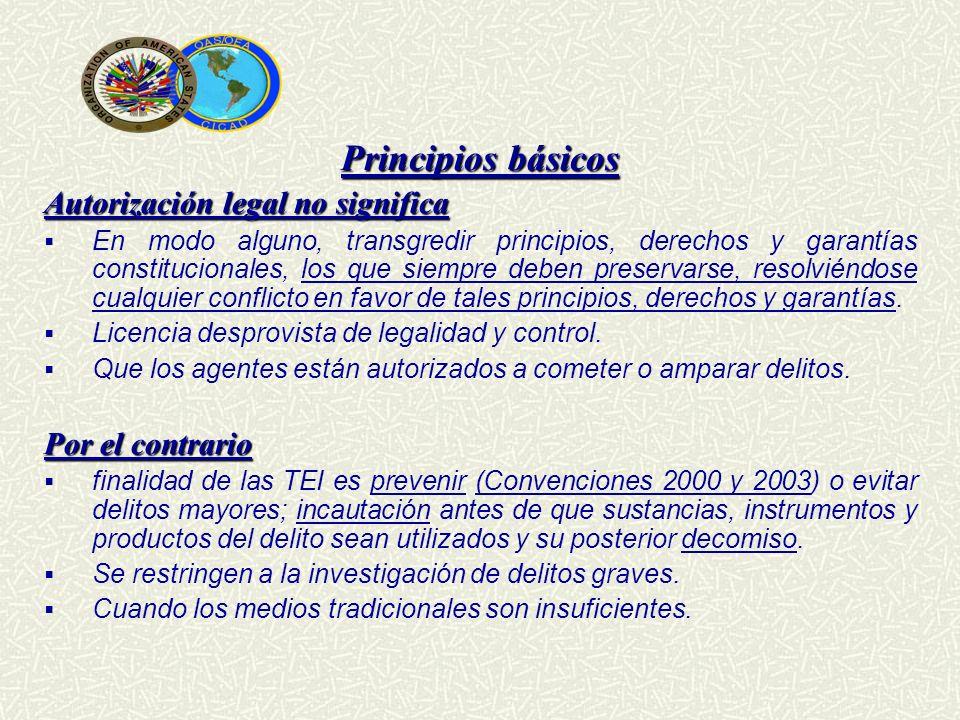 Principios básicos Autorización legal no significa En modo alguno, transgredir principios, derechos y garantías constitucionales, los que siempre debe