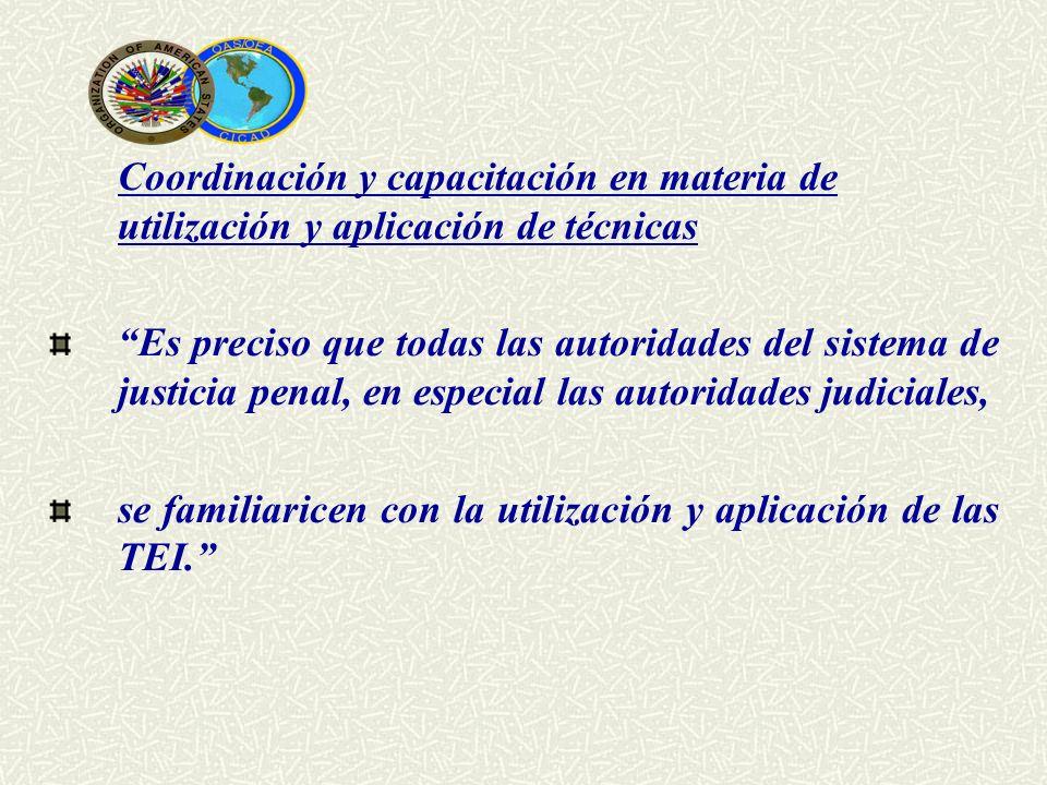 Coordinación y capacitación en materia de utilización y aplicación de técnicas Es preciso que todas las autoridades del sistema de justicia penal, en