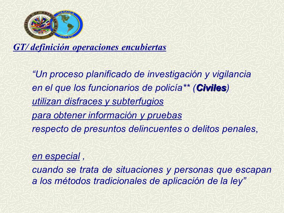 GT/ definición operaciones encubiertas Un proceso planificado de investigación y vigilancia Civiles en el que los funcionarios de policía** (Civiles)
