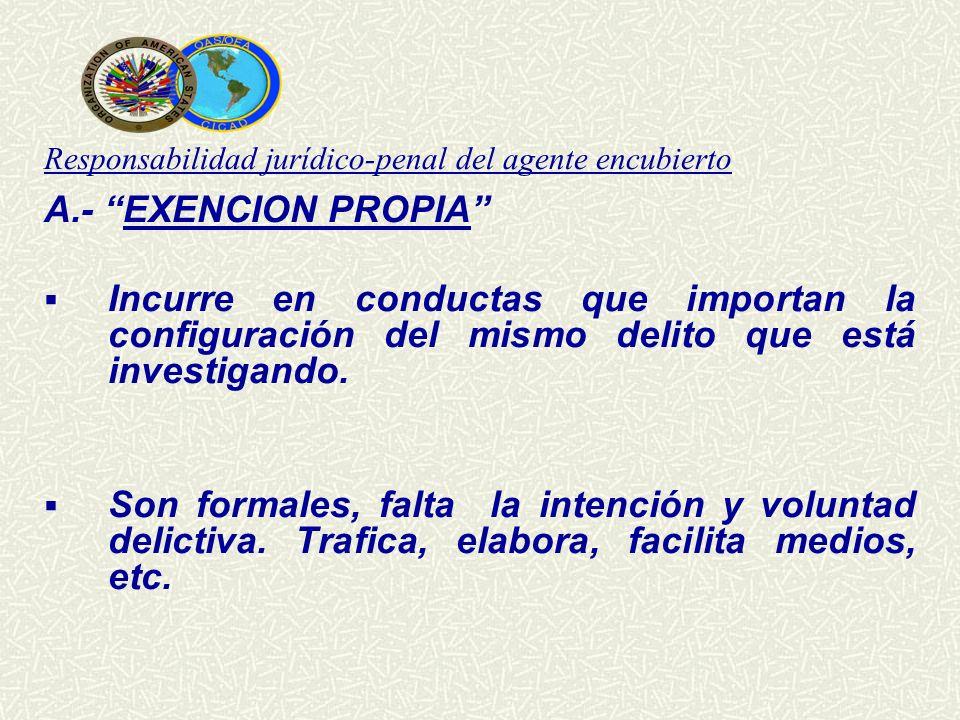 Responsabilidad jurídico-penal del agente encubierto A.- EXENCION PROPIA Incurre en conductas que importan la configuración del mismo delito que está