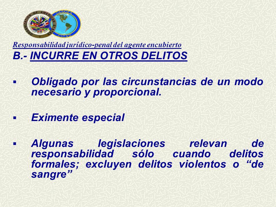Responsabilidad jurídico-penal del agente encubierto B.- INCURRE EN OTROS DELITOS Obligado por las circunstancias de un modo necesario y proporcional.