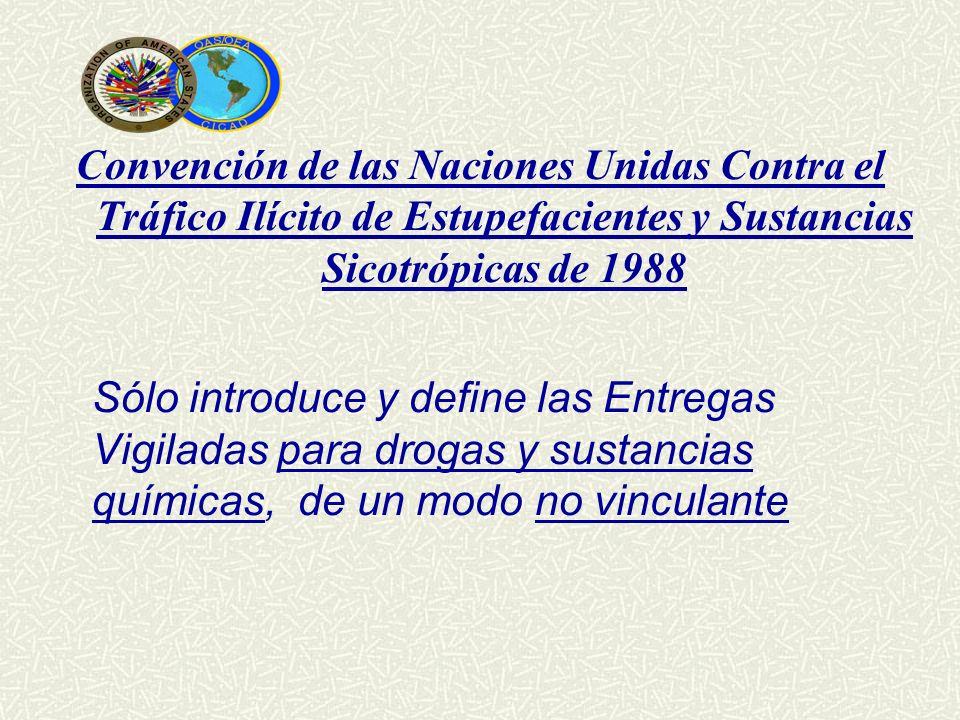 Convención de las Naciones Unidas Contra el Tráfico Ilícito de Estupefacientes y Sustancias Sicotrópicas de 1988 Sólo introduce y define las Entregas