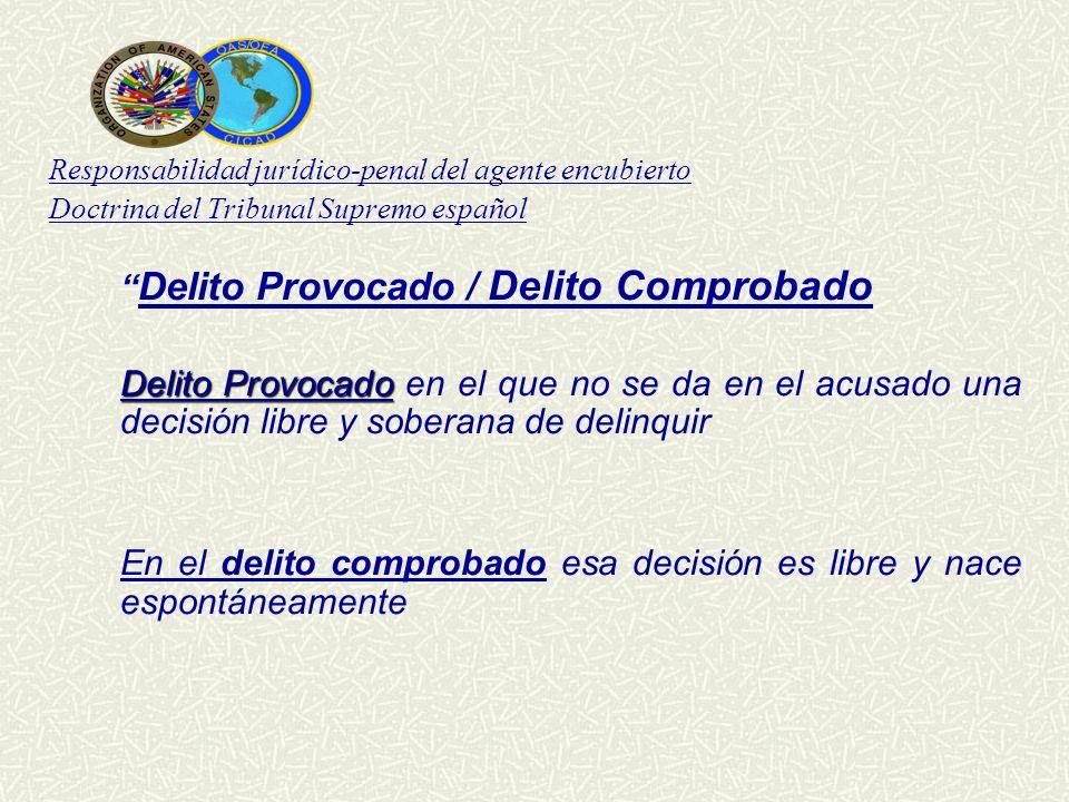 Responsabilidad jurídico-penal del agente encubierto Doctrina del Tribunal Supremo español Delito Provocado / Delito Comprobado Delito Provocado Delit