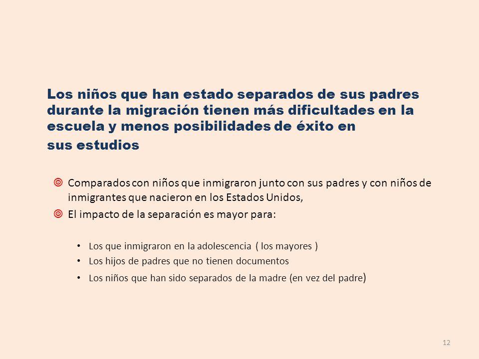 Los niños que han estado separados de sus padres durante la migración tienen más dificultades en la escuela y menos posibilidades de éxito en sus estu