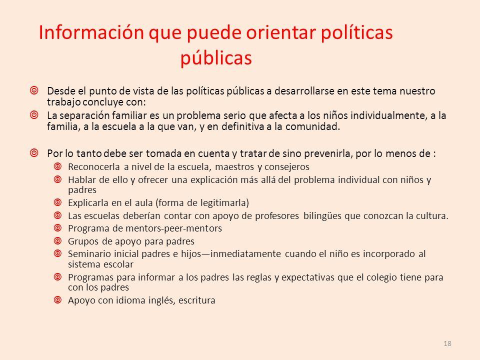 Información que puede orientar políticas públicas Desde el punto de vista de las políticas públicas a desarrollarse en este tema nuestro trabajo concl
