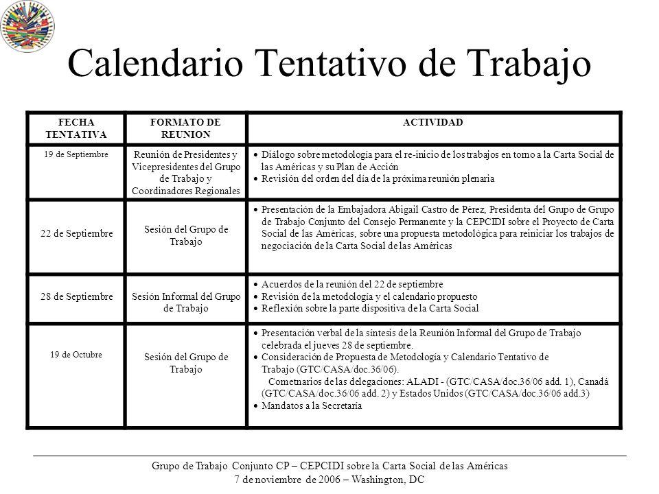 Grupo de Trabajo Conjunto CP – CEPCIDI sobre la Carta Social de las Américas 7 de noviembre de 2006 – Washington, DC Calendario Tentativo de Trabajo F