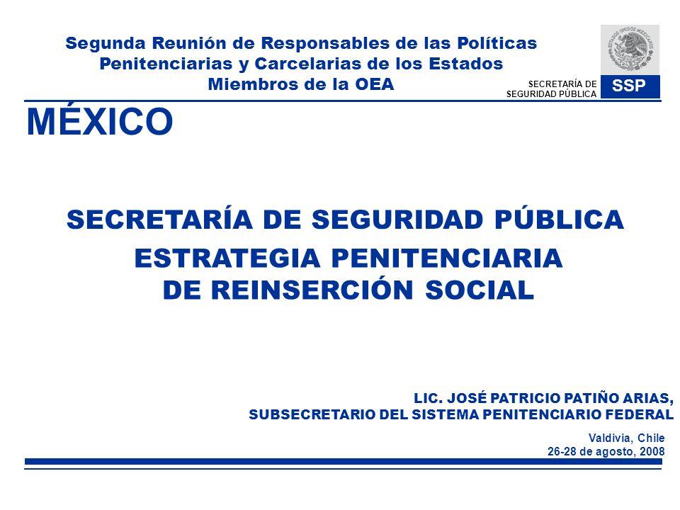 SECRETARÍA DE SEGURIDAD PÚBLICA SSP Valdivia, Chile 26-28 de agosto, 2008 ESTRATEGIA PENITENCIARIA DE REINSERCIÓN SOCIAL SECRETARÍA DE SEGURIDAD PÚBLI