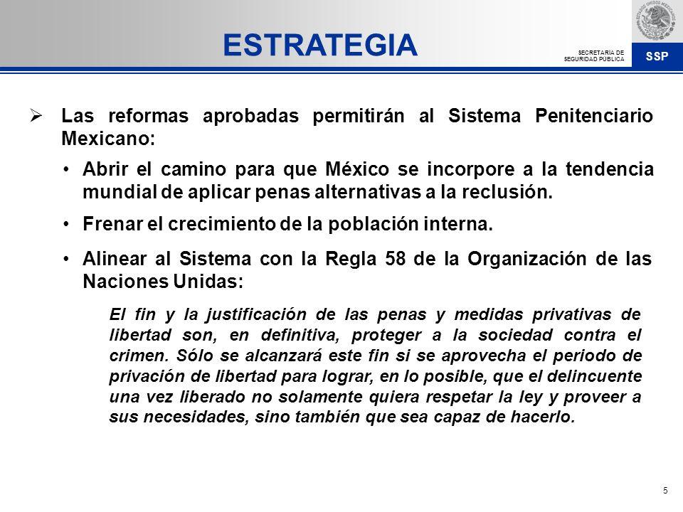 SSP SECRETARÍA DE SEGURIDAD PÚBLICA 6 Atender la sobrepoblación mediante la construcción de nuevos centros penitenciarios con un enfoque centrado en la reinserción.