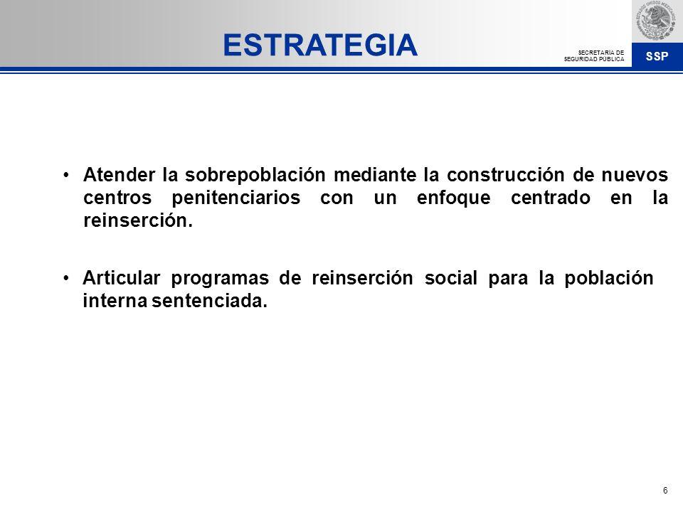 SSP SECRETARÍA DE SEGURIDAD PÚBLICA 6 Atender la sobrepoblación mediante la construcción de nuevos centros penitenciarios con un enfoque centrado en l